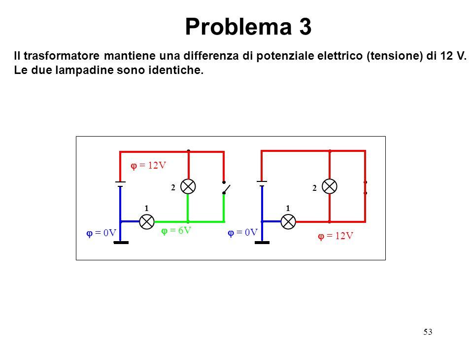 53 Problema 3 Il trasformatore mantiene una differenza di potenziale elettrico (tensione) di 12 V. Le due lampadine sono identiche. 1 2 1 2  = 12V 