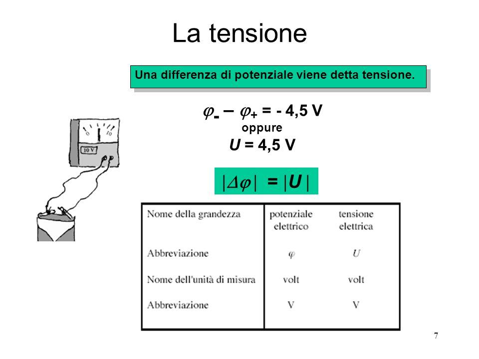 7 La tensione Una differenza di potenziale viene detta tensione.  -  –  + = - 4,5 V oppure U = 4,5 V   =  U 