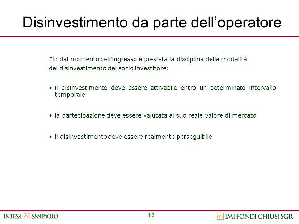 13 Disinvestimento da parte dell'operatore Fin dal momento dell'ingresso è prevista la disciplina della modalità del disinvestimento del socio investi