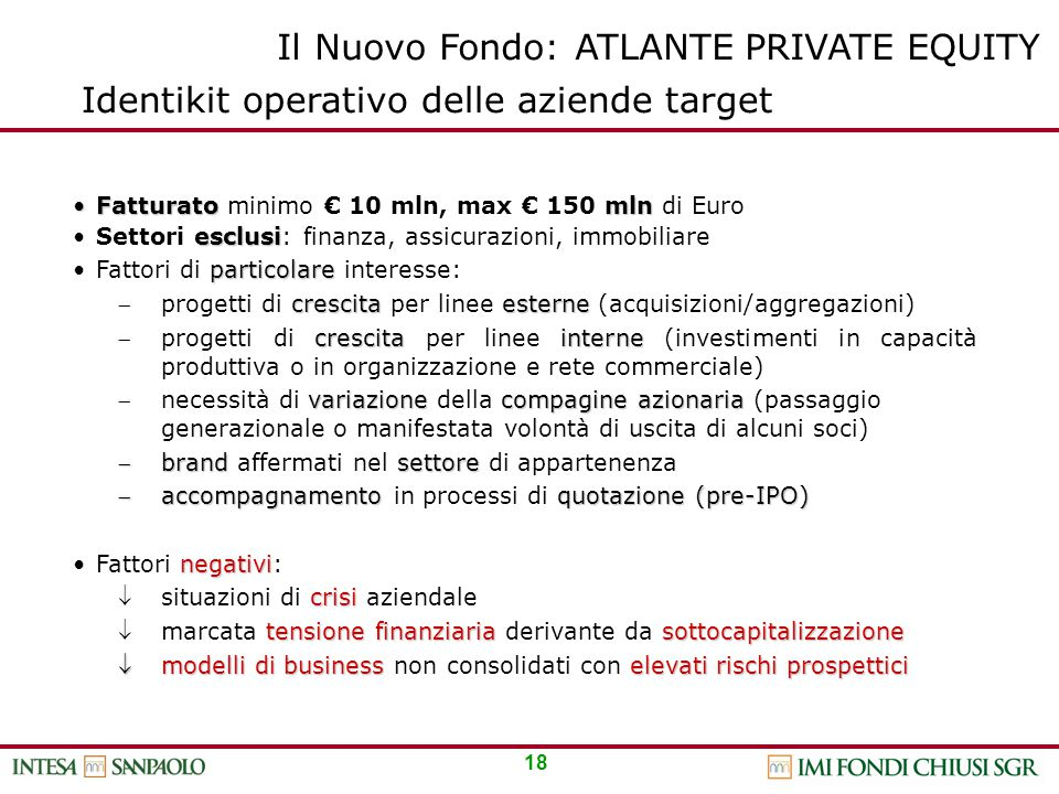 18 Identikit operativo delle aziende target FatturatomlnFatturato minimo € 10 mln, max € 150 mln di Euro esclusiSettori esclusi: finanza, assicurazion