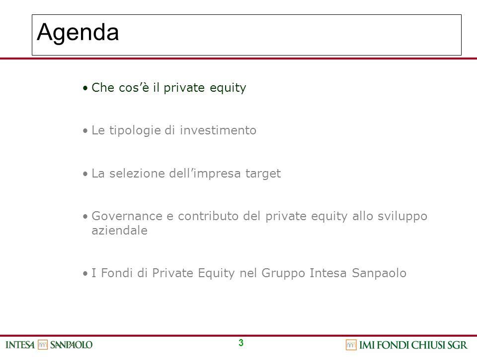 3 Agenda Che cos'è il private equity Le tipologie di investimento La selezione dell'impresa target Governance e contributo del private equity allo svi