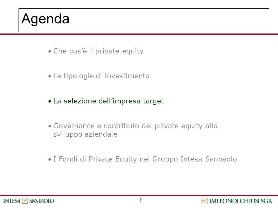 7 Agenda Che cos'è il private equity Le tipologie di investimento La selezione dell'impresa target Governance e contributo del private equity allo svi