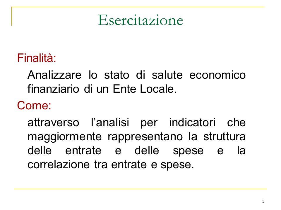 1 Esercitazione Finalità: Analizzare lo stato di salute economico finanziario di un Ente Locale. Come: attraverso l'analisi per indicatori che maggior
