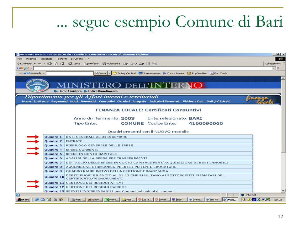 12... segue esempio Comune di Bari