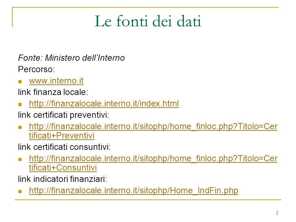 2 Le fonti dei dati Fonte: Ministero dell'Interno Percorso: www.interno.it link finanza locale: http://finanzalocale.interno.it/index.html link certif