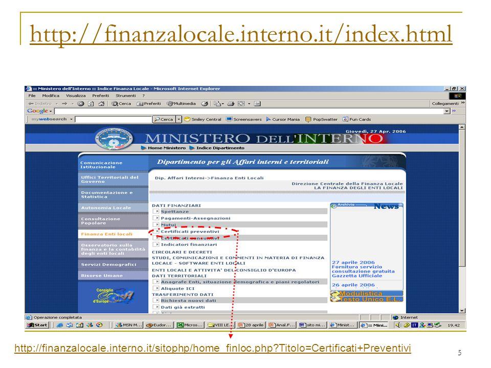 5 http://finanzalocale.interno.it/sitophp/home_finloc.php?Titolo=Certificati+Preventivi