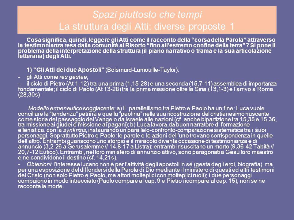 Lavori di gruppo I a) confrontare la geografia teologica degli Atti e quella del Vangelo lucano (cf.