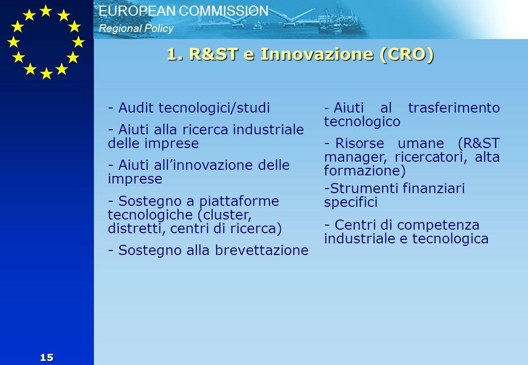 Regional Policy EUROPEAN COMMISSION 15 - Audit tecnologici/studi - - Aiuti alla ricerca industriale delle imprese - - Aiuti all'innovazione delle imprese - - Sostegno a piattaforme tecnologiche (cluster, distretti, centri di ricerca) - - Sostegno alla brevettazione - - Aiuti al trasferimento tecnologico - - Risorse umane (R&ST manager, ricercatori, alta formazione) - -Strumenti finanziari specifici - - Centri di competenza industriale e tecnologica 1.