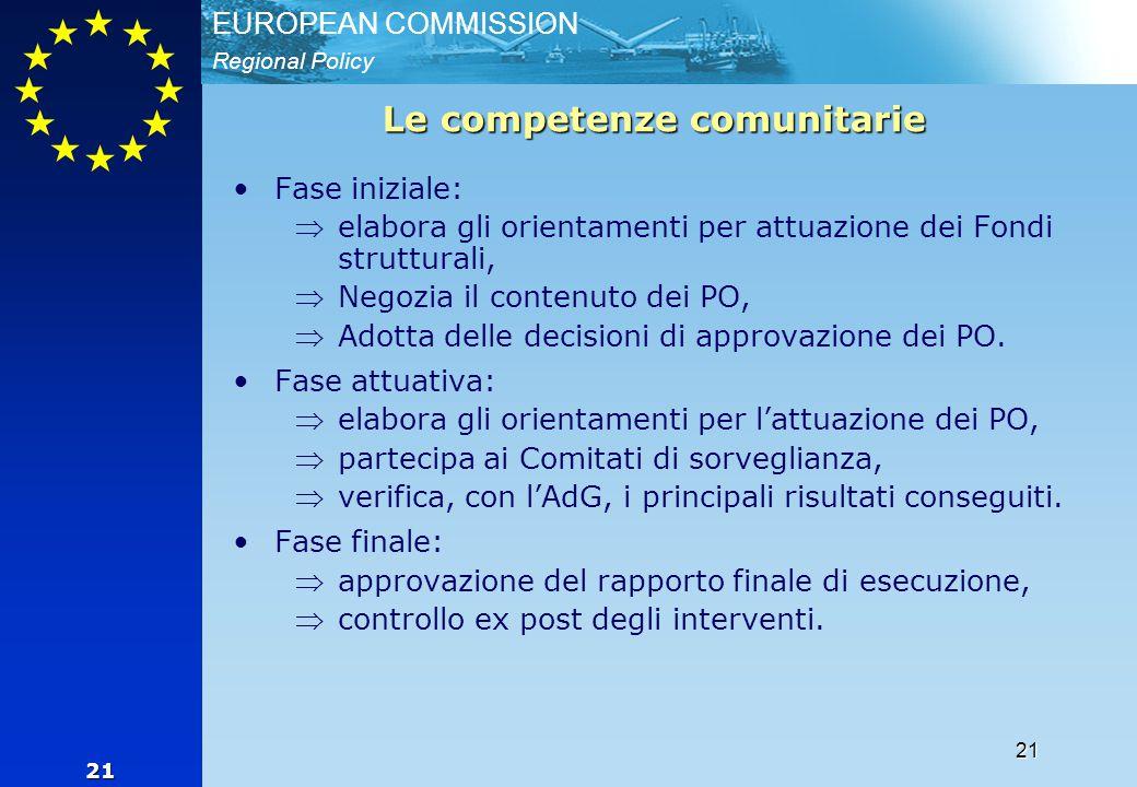 Regional Policy EUROPEAN COMMISSION 21 21 Le competenze comunitarie Fase iniziale: elabora gli orientamenti per attuazione dei Fondi strutturali, Negozia il contenuto dei PO, Adotta delle decisioni di approvazione dei PO.