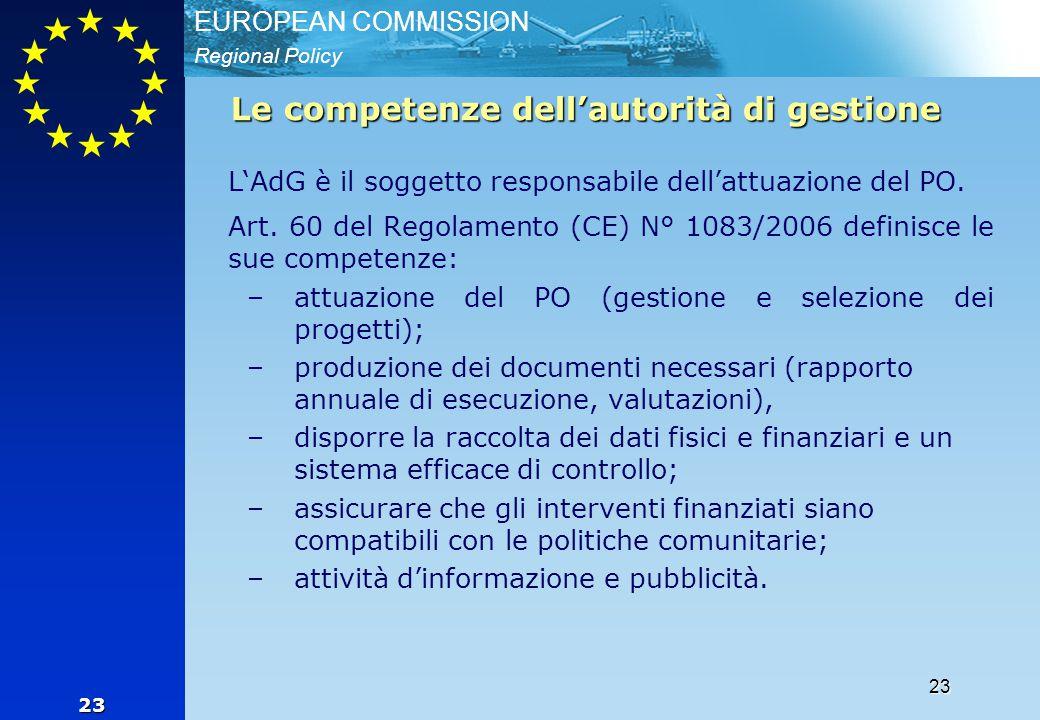 Regional Policy EUROPEAN COMMISSION 23 23 Le competenze dell'autorità di gestione L'AdG è il soggetto responsabile dell'attuazione del PO. Art. 60 del