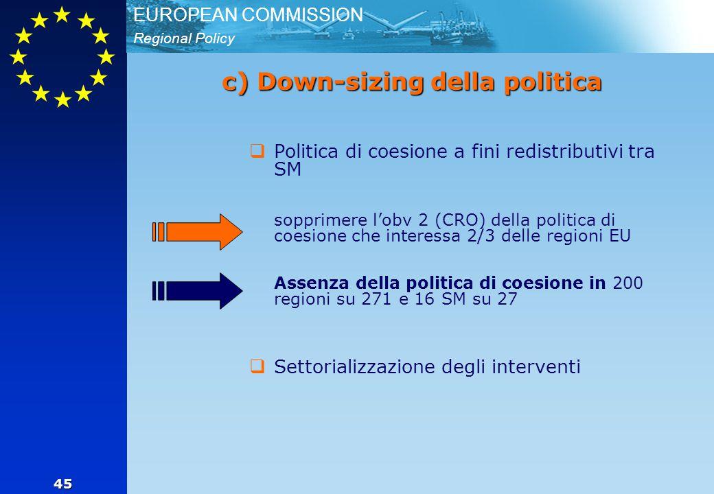 Regional Policy EUROPEAN COMMISSION 45 c) Down-sizing della politica  Politica di coesione a fini redistributivi tra SM sopprimere l'obv 2 (CRO) della politica di coesione che interessa 2/3 delle regioni EU Assenza della politica di coesione in 200 regioni su 271 e 16 SM su 27  Settorializzazione degli interventi