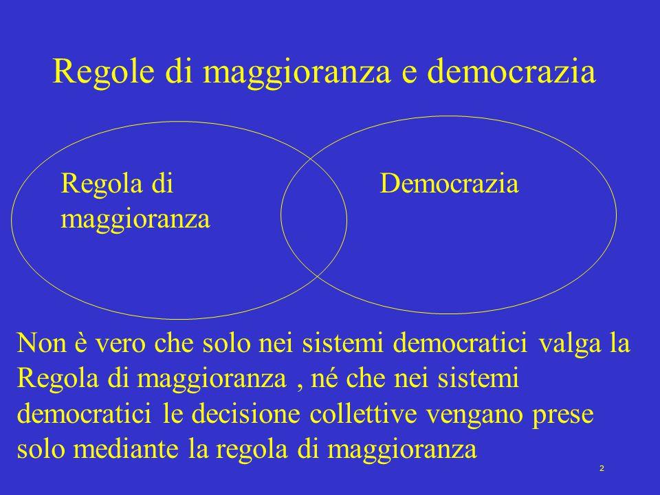 2 Regole di maggioranza e democrazia Regola di maggioranza Democrazia Non è vero che solo nei sistemi democratici valga la Regola di maggioranza, né che nei sistemi democratici le decisione collettive vengano prese solo mediante la regola di maggioranza