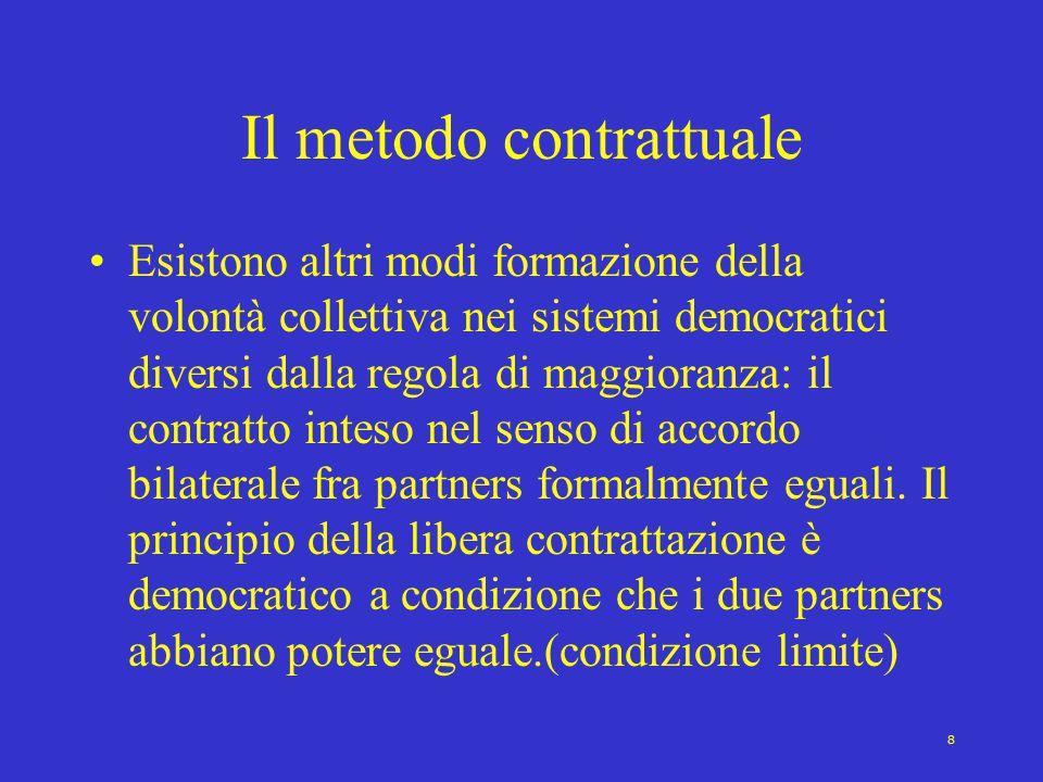 8 Il metodo contrattuale Esistono altri modi formazione della volontà collettiva nei sistemi democratici diversi dalla regola di maggioranza: il contratto inteso nel senso di accordo bilaterale fra partners formalmente eguali.