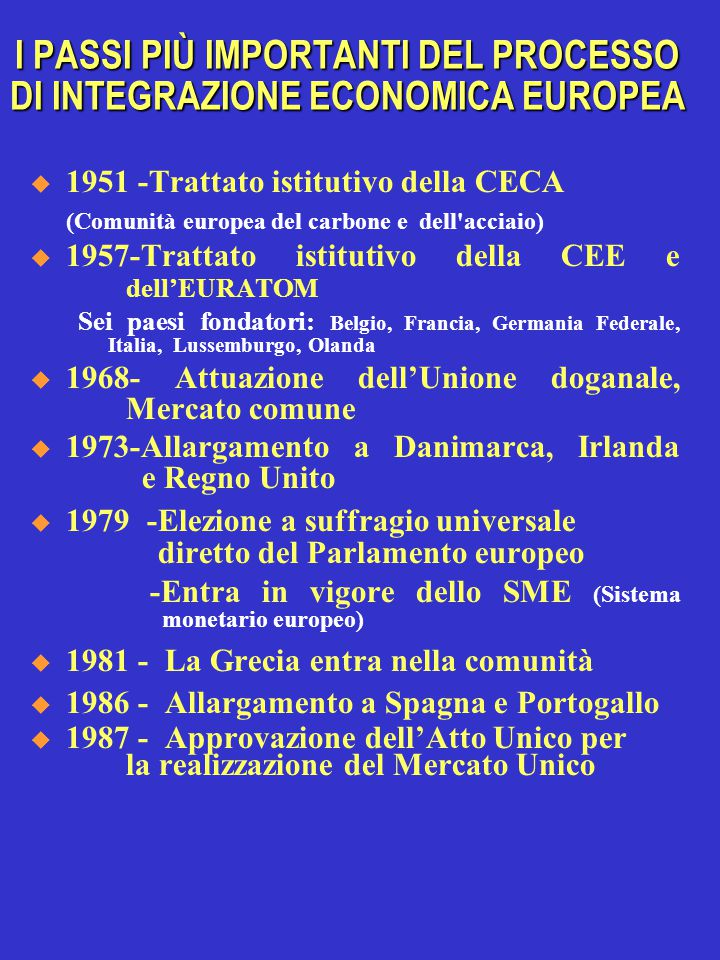  1992 -Firma dell'accordo di Maastricht; (rigetto da parte della Danimarca) -Fuoriuscita dallo SME di Italia e Regno Unito  1993 - Entrano in vigore  Il trattato di Maastricht  il Mercato Unico  1995 – UE- 15 paesi: Entrano Austria, Svezia, Finlandia – (La Norvegia respinge l'adesione con un referendum)  1999 - Parte l'unione monetaria per l'istituzione dell'EURO  ( cambi fissi fra 11 paesi)  2000 –Approvato Agenda 2000, per una Unione più forte e più grande I PASSI PIÙ IMPORTANTI DEL PROCESSO DI INTEGRAZIONE ECONOMICA EUROPEA