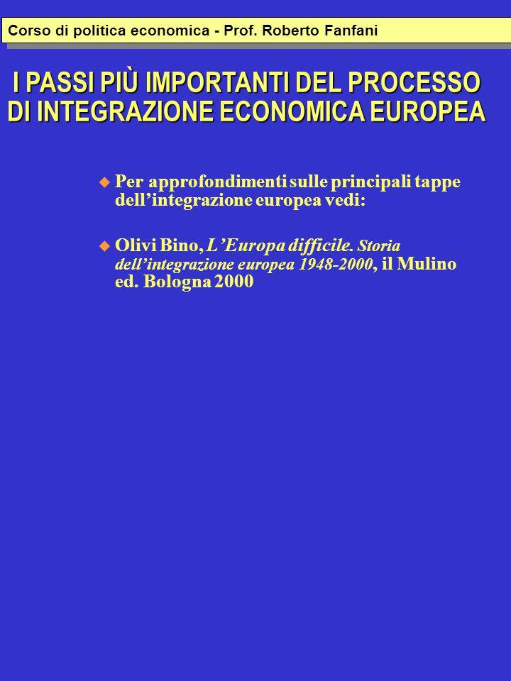  Per approfondimenti sulle principali tappe dell'integrazione europea vedi:  Olivi Bino, L'Europa difficile. Storia dell'integrazione europea 1948-2