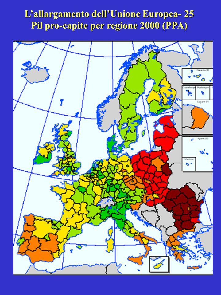 L'allargamento dell'Unione Europea- 25 Pil pro-capite per regione 2000 (PPA)