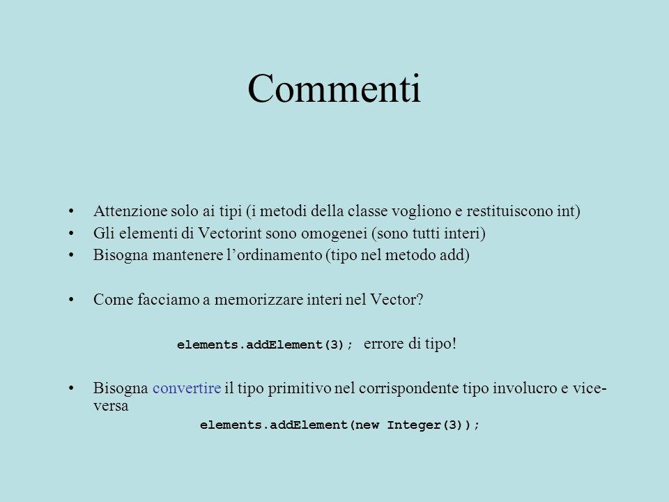 Commenti Attenzione solo ai tipi (i metodi della classe vogliono e restituiscono int) Gli elementi di Vectorint sono omogenei (sono tutti interi) Bisogna mantenere l'ordinamento (tipo nel metodo add) Come facciamo a memorizzare interi nel Vector.