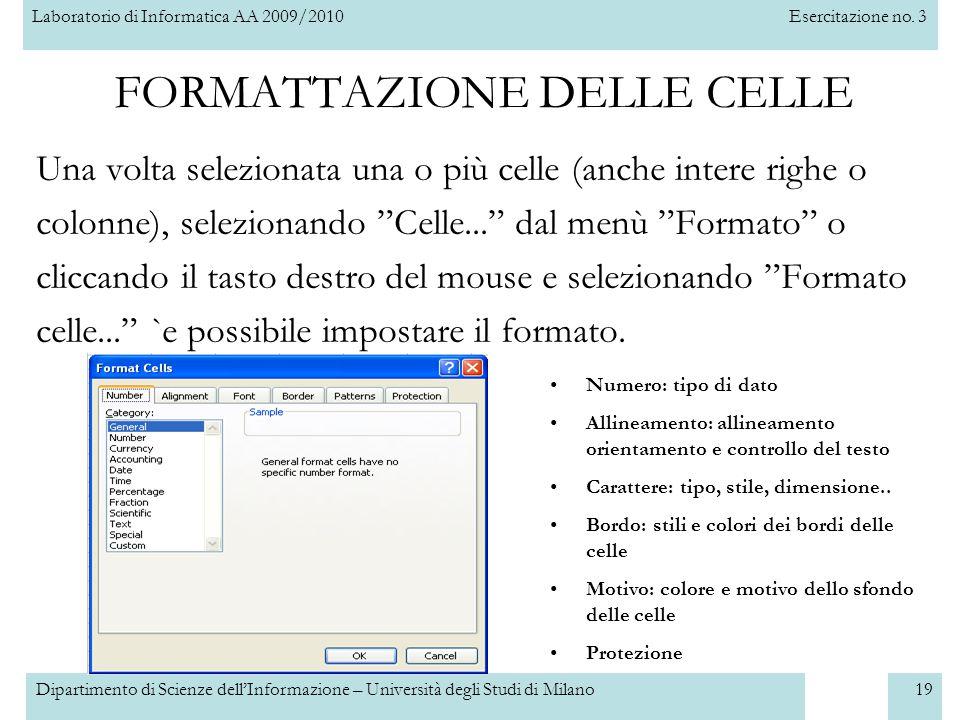 Laboratorio di Informatica AA 2009/2010Esercitazione no. 3 Dipartimento di Scienze dell'Informazione – Università degli Studi di Milano19 FORMATTAZION