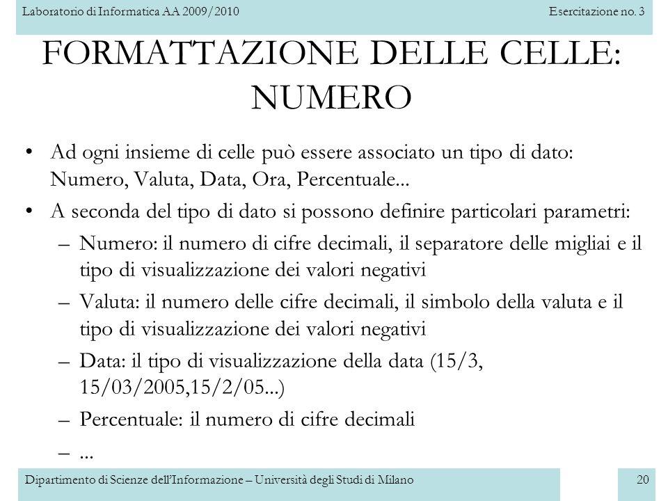 Laboratorio di Informatica AA 2009/2010Esercitazione no. 3 Dipartimento di Scienze dell'Informazione – Università degli Studi di Milano20 FORMATTAZION
