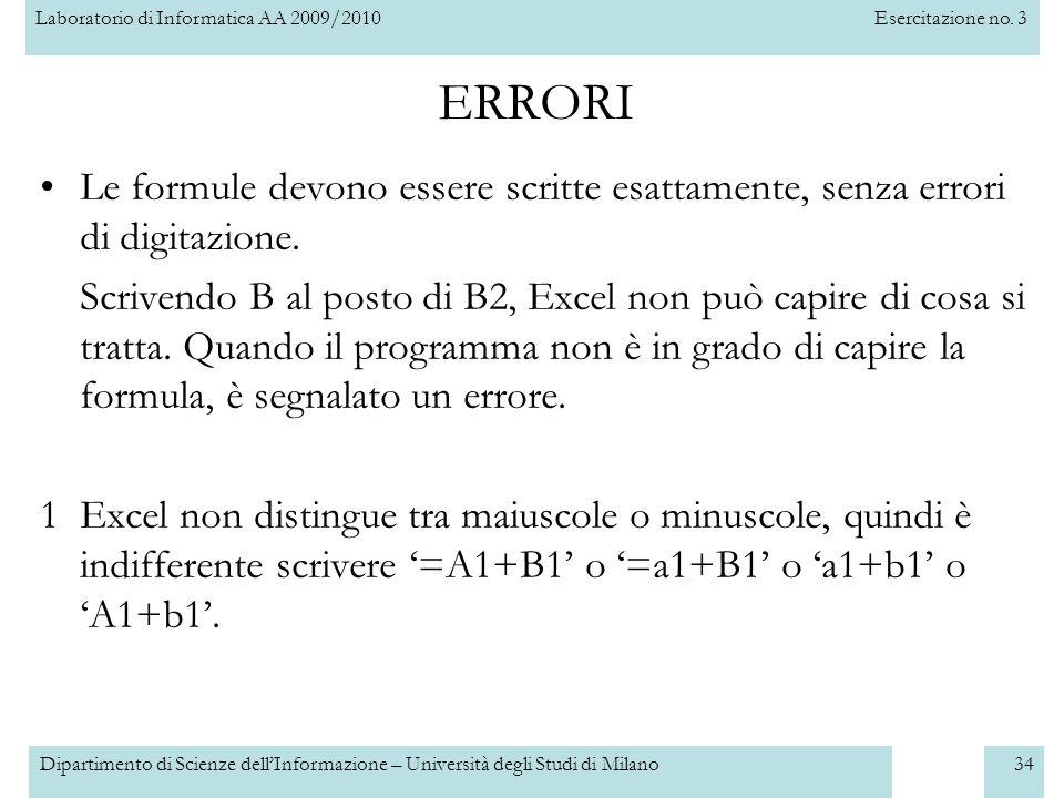 Laboratorio di Informatica AA 2009/2010Esercitazione no. 3 Dipartimento di Scienze dell'Informazione – Università degli Studi di Milano34 ERRORI Le fo