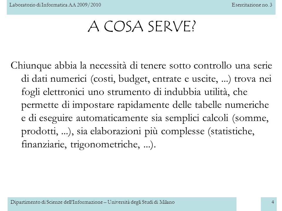 Laboratorio di Informatica AA 2009/2010Esercitazione no. 3 Dipartimento di Scienze dell'Informazione – Università degli Studi di Milano4 A COSA SERVE?