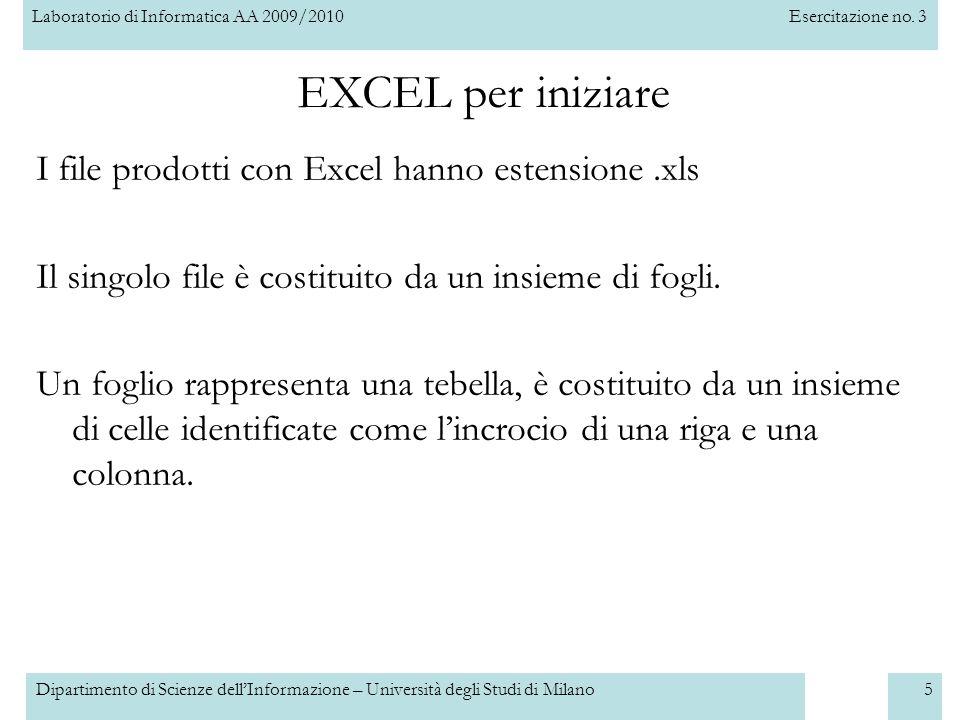 Laboratorio di Informatica AA 2009/2010Esercitazione no. 3 Dipartimento di Scienze dell'Informazione – Università degli Studi di Milano5 EXCEL per ini