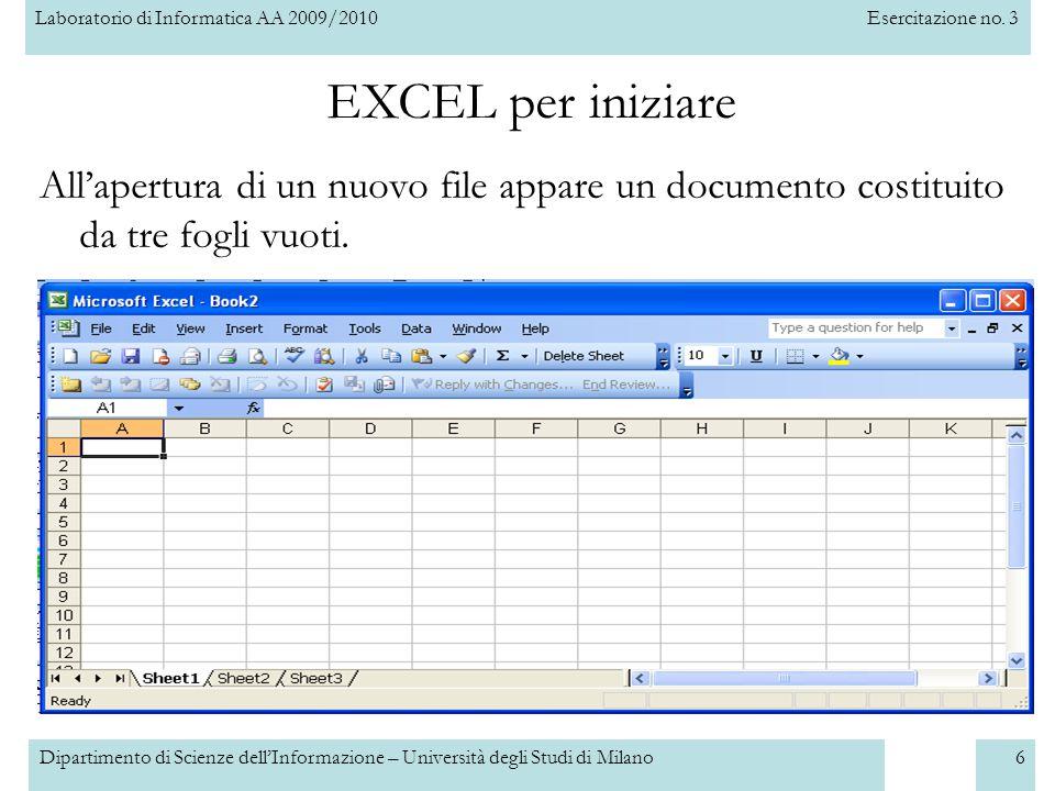Laboratorio di Informatica AA 2009/2010Esercitazione no. 3 Dipartimento di Scienze dell'Informazione – Università degli Studi di Milano6 All'apertura