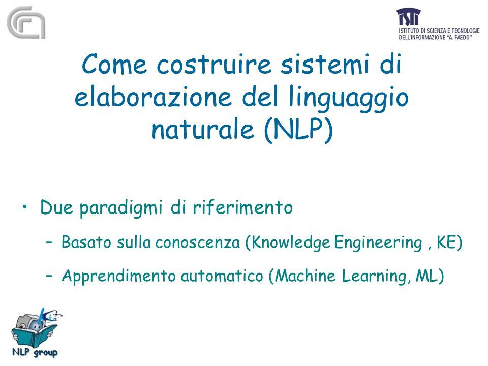 Come costruire sistemi di elaborazione del linguaggio naturale (NLP) Due paradigmi di riferimento –Basato sulla conoscenza (Knowledge Engineering, KE)