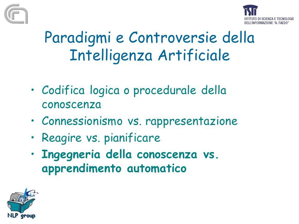 Paradigmi e Controversie della Intelligenza Artificiale Codifica logica o procedurale della conoscenza Connessionismo vs. rappresentazione Reagire vs.
