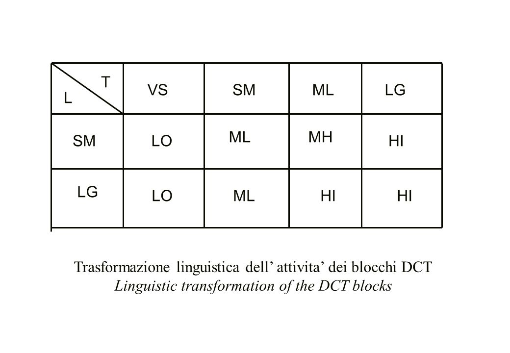 T L LGML HI ML LO LG SM VSSM MH HI ML LO Trasformazione linguistica dell' attivita' dei blocchi DCT Linguistic transformation of the DCT blocks