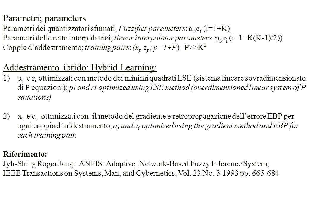 Parametri; parameters Parametri dei quantizzatori sfumati; Fuzzifier parameters: a i,c i (i=1÷K) Parametri delle rette interpolatrici; linear interpol