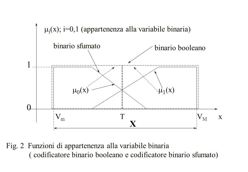 V m T V M x 1010 binario booleano binario sfumato  0 (x)  1 (x)  i (x); i=0,1 (appartenenza alla variabile binaria) X Fig. 2 Funzioni di appartene