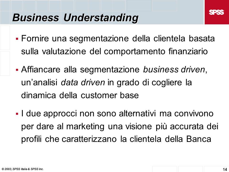 © 2003, SPSS Italia & SPSS Inc. 14 Business Understanding  Fornire una segmentazione della clientela basata sulla valutazione del comportamento finan