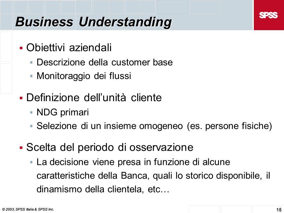 © 2003, SPSS Italia & SPSS Inc. 15 Business Understanding  Obiettivi aziendali  Descrizione della customer base  Monitoraggio dei flussi  Definizi