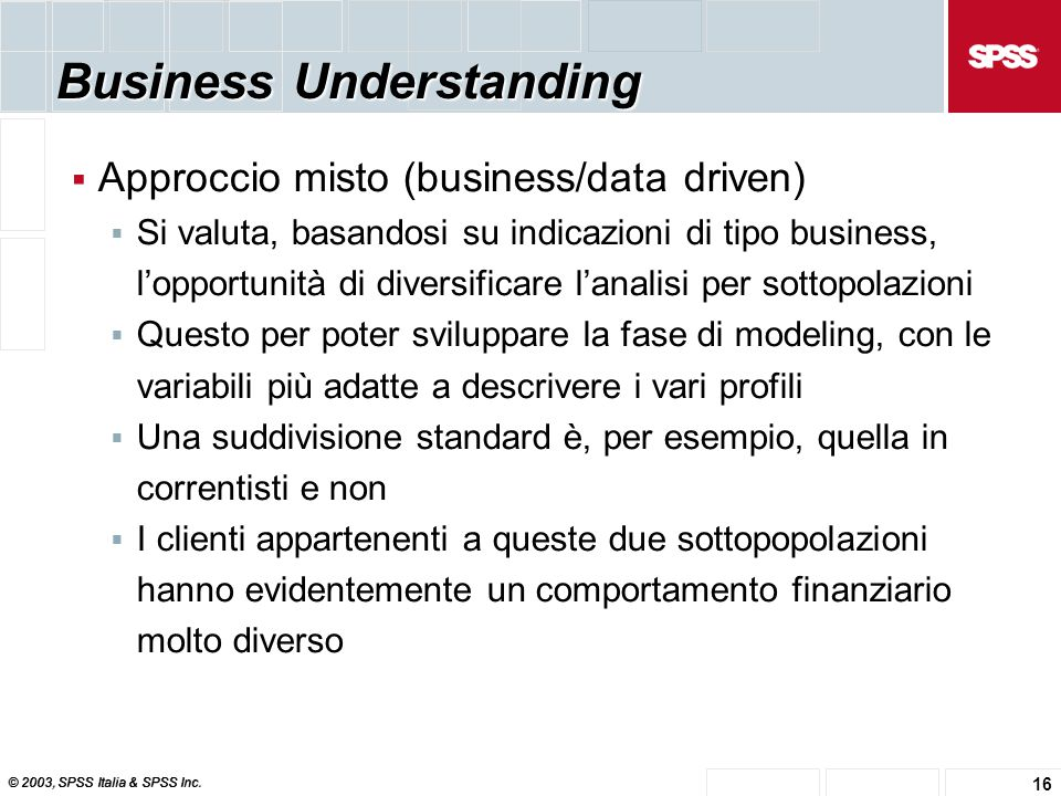 © 2003, SPSS Italia & SPSS Inc. 16 Business Understanding  Approccio misto (business/data driven)  Si valuta, basandosi su indicazioni di tipo busin