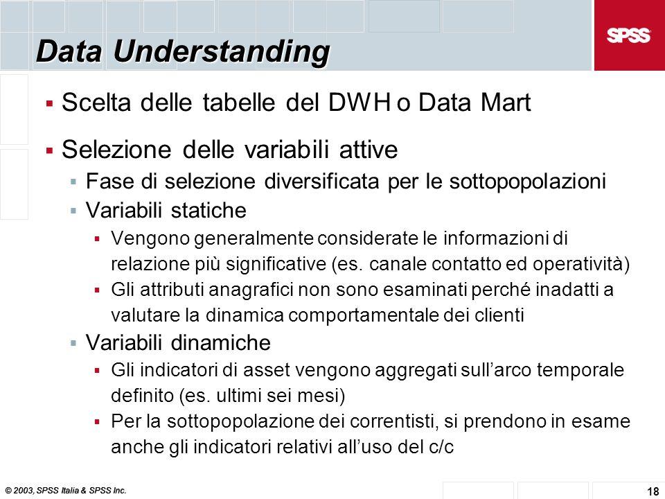 © 2003, SPSS Italia & SPSS Inc. 18 Data Understanding  Scelta delle tabelle del DWH o Data Mart  Selezione delle variabili attive  Fase di selezion