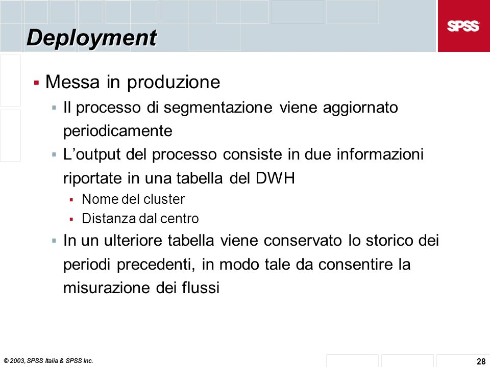 © 2003, SPSS Italia & SPSS Inc. 28 Deployment  Messa in produzione  Il processo di segmentazione viene aggiornato periodicamente  L'output del proc