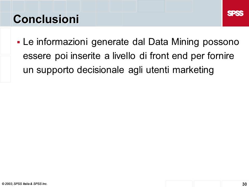 © 2003, SPSS Italia & SPSS Inc. 30 Conclusioni  Le informazioni generate dal Data Mining possono essere poi inserite a livello di front end per forni