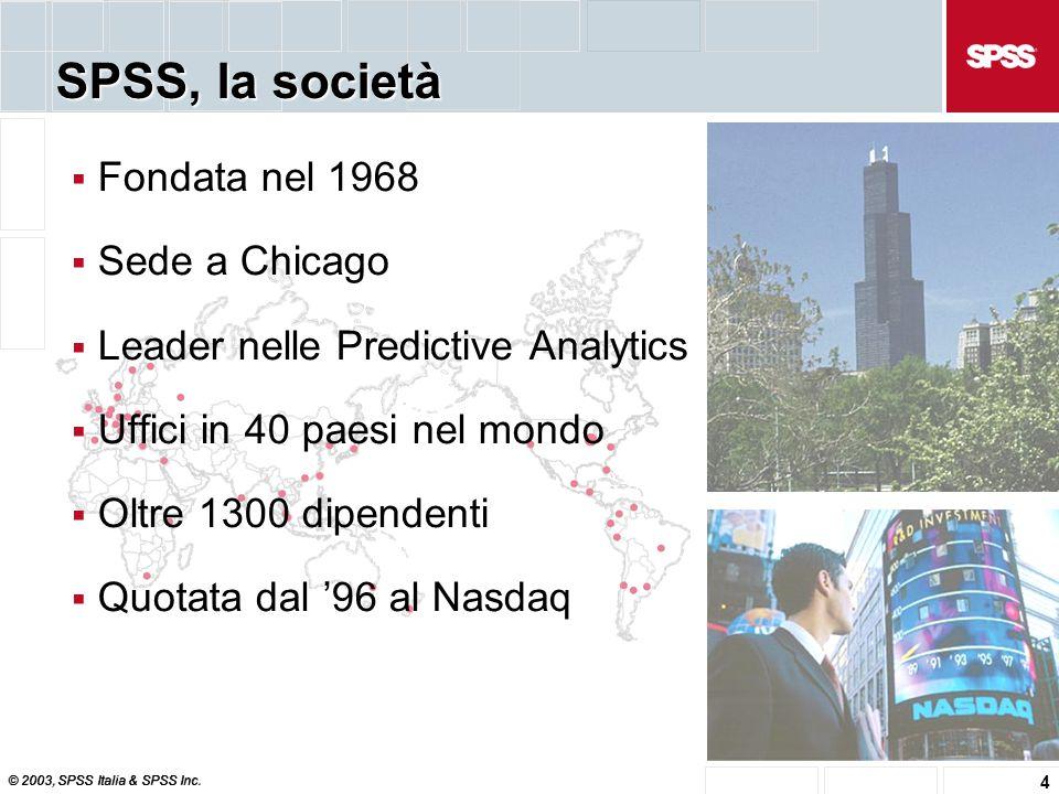 © 2003, SPSS Italia & SPSS Inc. 4  Fondata nel 1968  Sede a Chicago  Leader nelle Predictive Analytics  Uffici in 40 paesi nel mondo  Oltre 1300