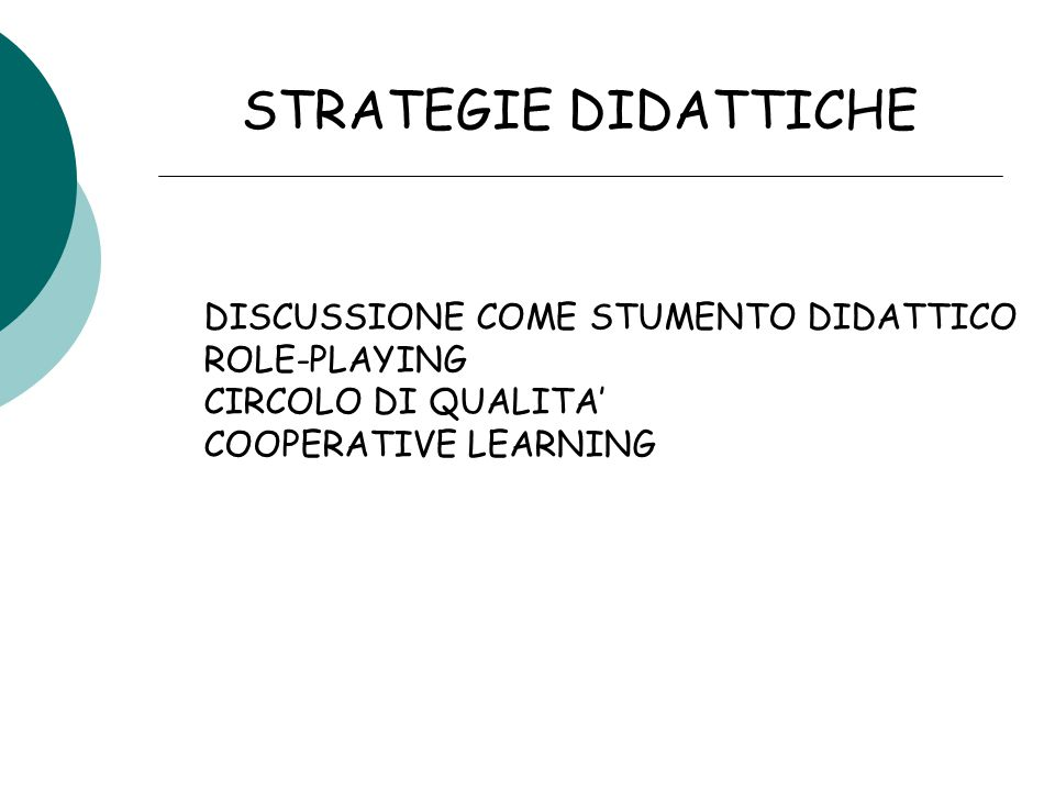 STRATEGIE DIDATTICHE DISCUSSIONE COME STUMENTO DIDATTICO ROLE-PLAYING CIRCOLO DI QUALITA' COOPERATIVE LEARNING