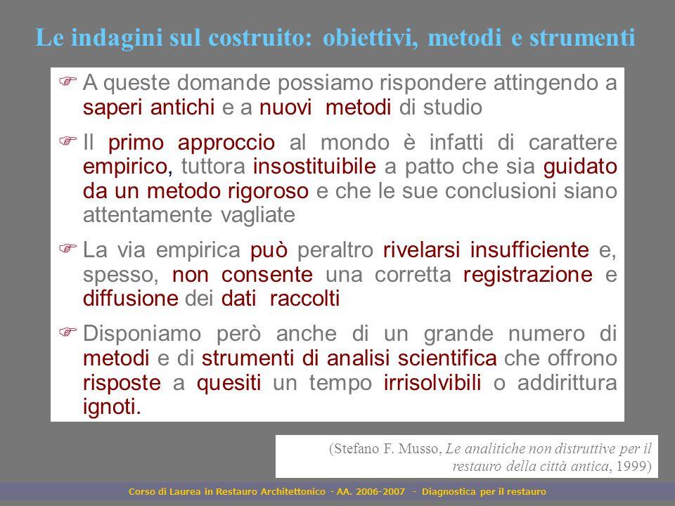 Corso di Laurea in Restauro Architettonico - AA. 2006-2007 - Diagnostica per il restauro Le indagini sul costruito: obiettivi, metodi e strumenti FA q