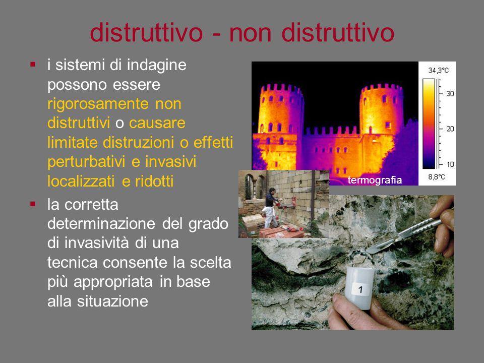 distruttivo - non distruttivo  i sistemi di indagine possono essere rigorosamente non distruttivi o causare limitate distruzioni o effetti perturbati