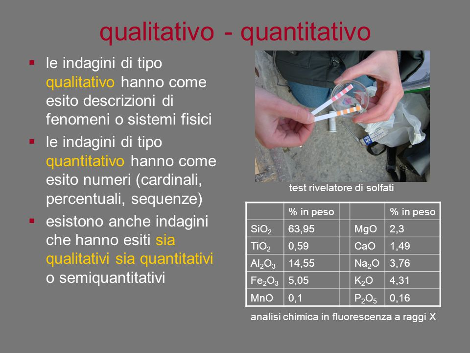 qualitativo - quantitativo  le indagini di tipo qualitativo hanno come esito descrizioni di fenomeni o sistemi fisici  le indagini di tipo quantitat