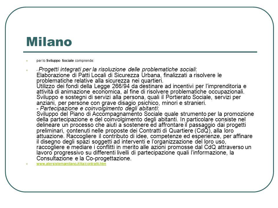 Milano per lo Sviluppo Sociale comprende: - Progetti integrati per la risoluzione delle problematiche sociali: Elaborazione di Patti Locali di Sicurezza Urbana, finalizzati a risolvere le problematiche relative alla sicurezza nei quartieri.