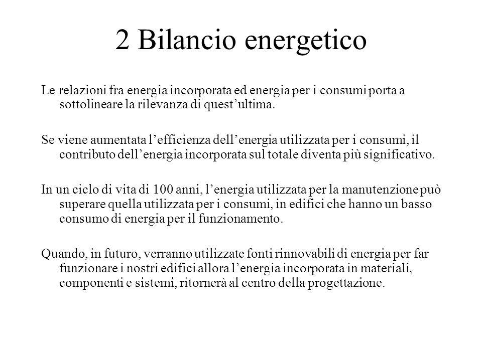 2 Bilancio energetico Le relazioni fra energia incorporata ed energia per i consumi porta a sottolineare la rilevanza di quest'ultima. Se viene aument