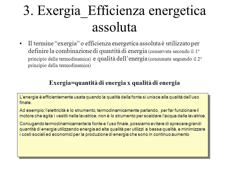 """3. Exergia_Efficienza energetica assoluta Il termine """"exergia"""" o efficienza energetica assoluta è utilizzato per definire la combinazione di quantità"""