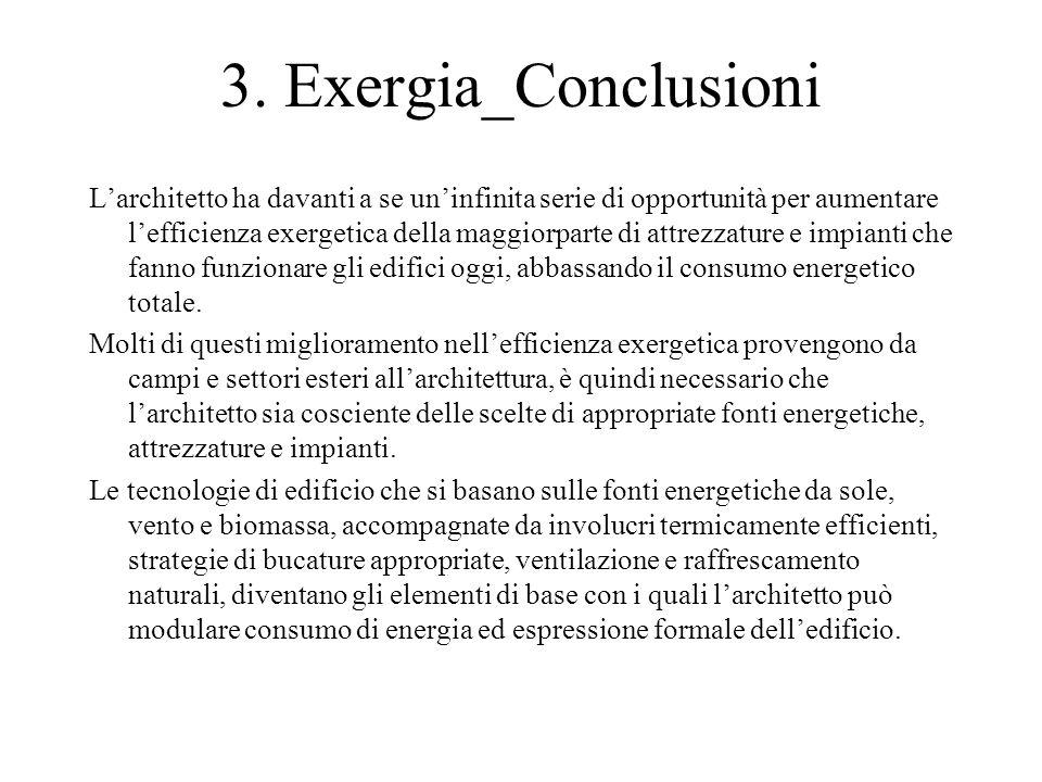 3. Exergia_Conclusioni L'architetto ha davanti a se un'infinita serie di opportunità per aumentare l'efficienza exergetica della maggiorparte di attre