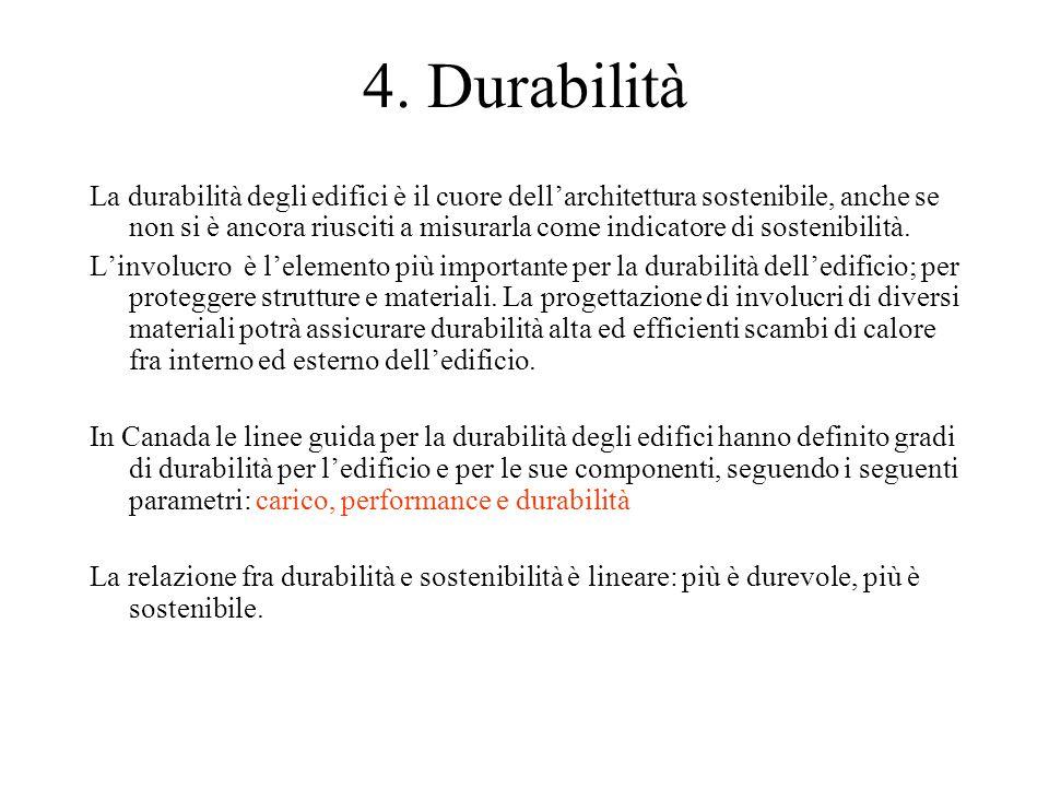 4. Durabilità La durabilità degli edifici è il cuore dell'architettura sostenibile, anche se non si è ancora riusciti a misurarla come indicatore di s