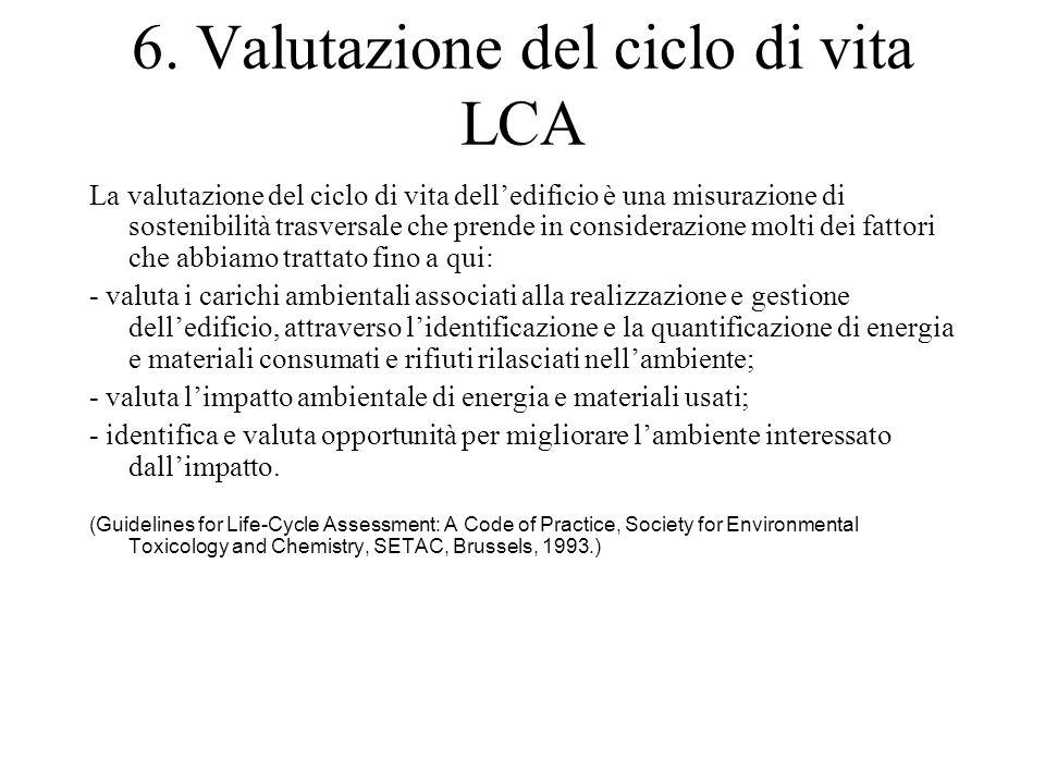 6. Valutazione del ciclo di vita LCA La valutazione del ciclo di vita dell'edificio è una misurazione di sostenibilità trasversale che prende in consi