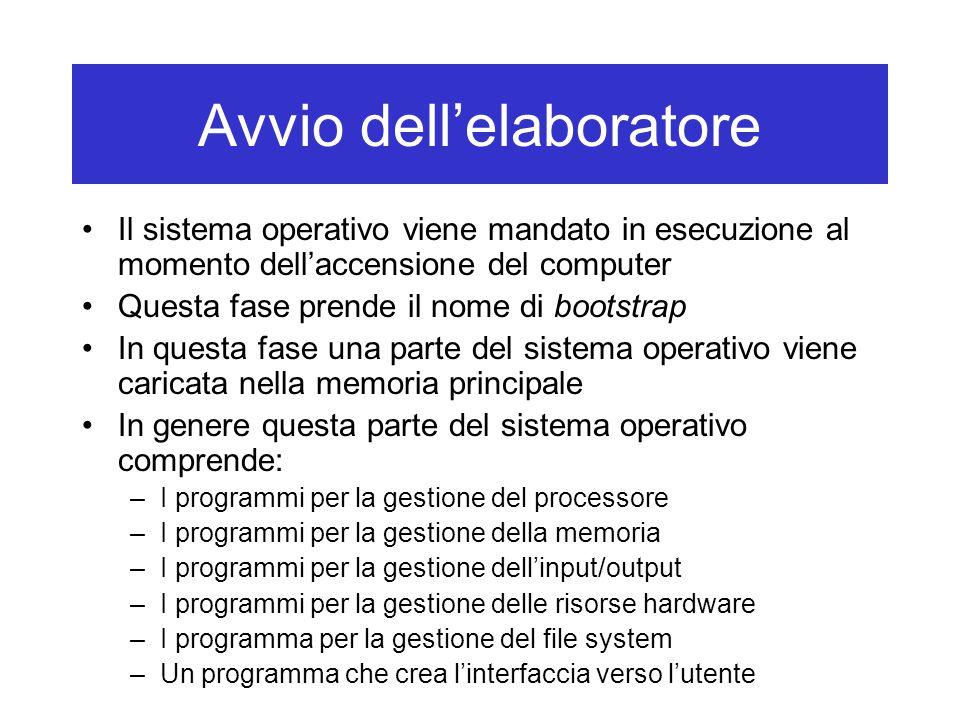 Avvio dell'elaboratore Il sistema operativo viene mandato in esecuzione al momento dell'accensione del computer Questa fase prende il nome di bootstra